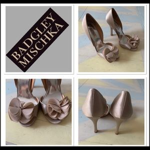 Badgley Mischka Thora silk ruffle bridal pump